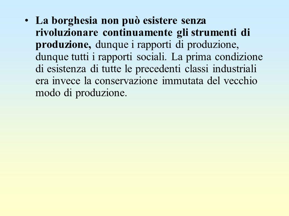 La borghesia non può esistere senza rivoluzionare continuamente gli strumenti di produzione, dunque i rapporti di produzione, dunque tutti i rapporti sociali.
