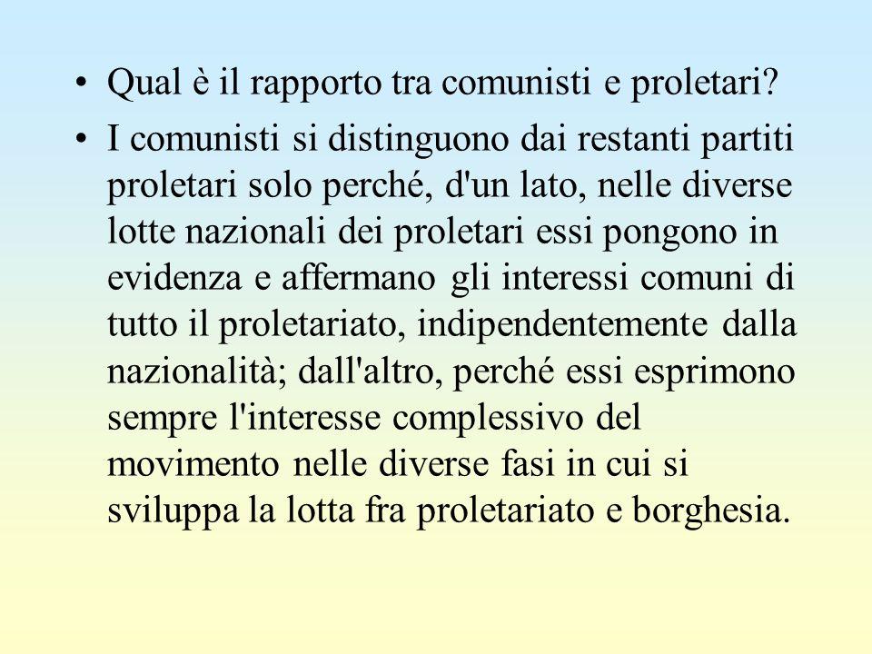 Qual è il rapporto tra comunisti e proletari