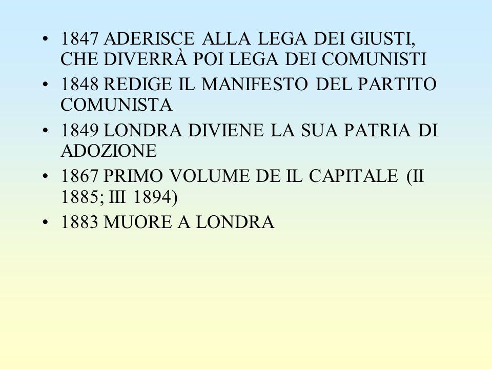 1847 ADERISCE ALLA LEGA DEI GIUSTI, CHE DIVERRÀ POI LEGA DEI COMUNISTI