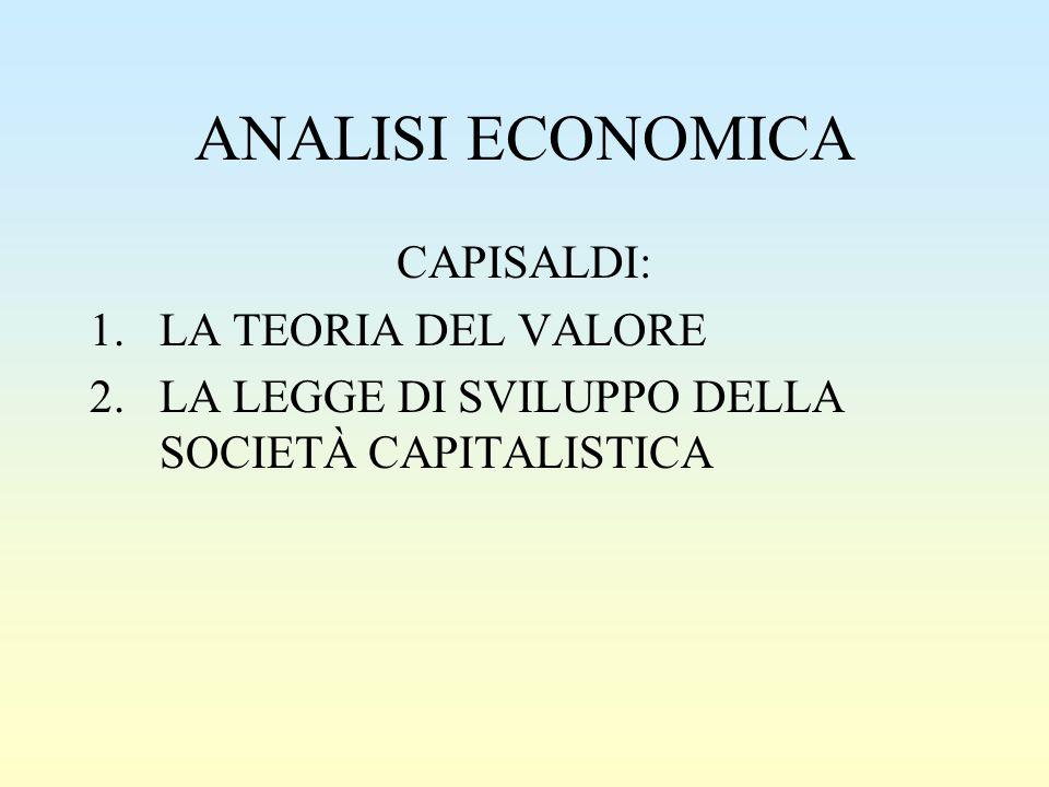 ANALISI ECONOMICA CAPISALDI: LA TEORIA DEL VALORE