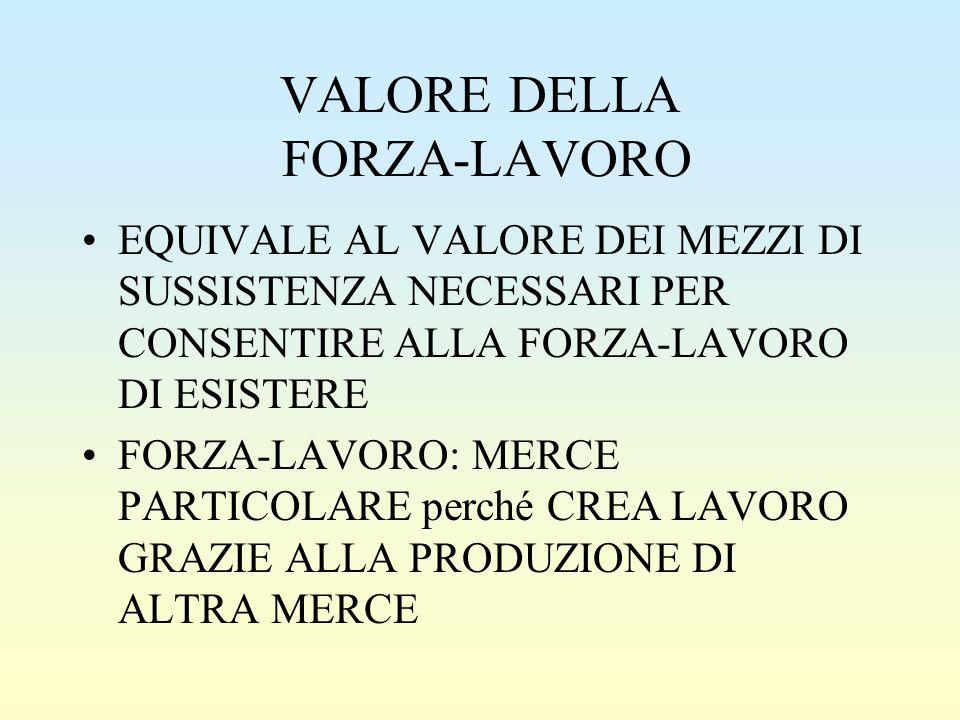 VALORE DELLA FORZA-LAVORO