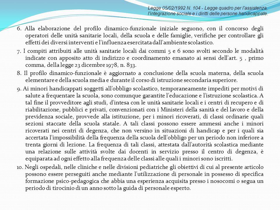 Legge 05/02/1992 N. 104 - Legge quadro per l assistenza, l integrazione sociale e i diritti delle persone handicappate.