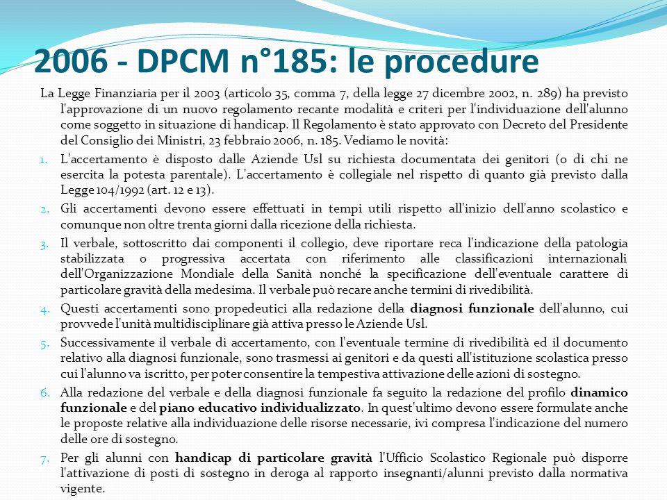 2006 - DPCM n°185: le procedure