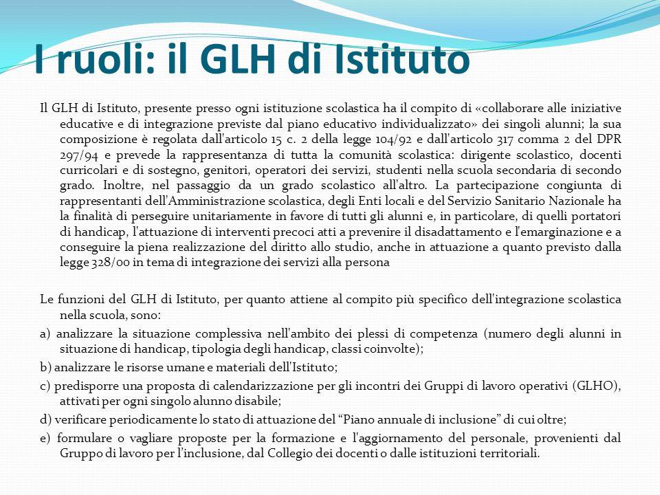 I ruoli: il GLH di Istituto