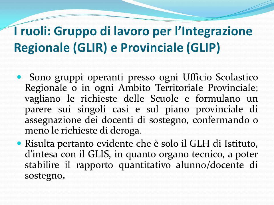 I ruoli: Gruppo di lavoro per l'Integrazione Regionale (GLIR) e Provinciale (GLIP)