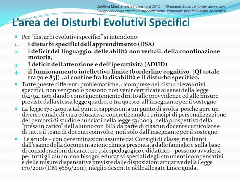 L'area dei Disturbi Evolutivi Specifici