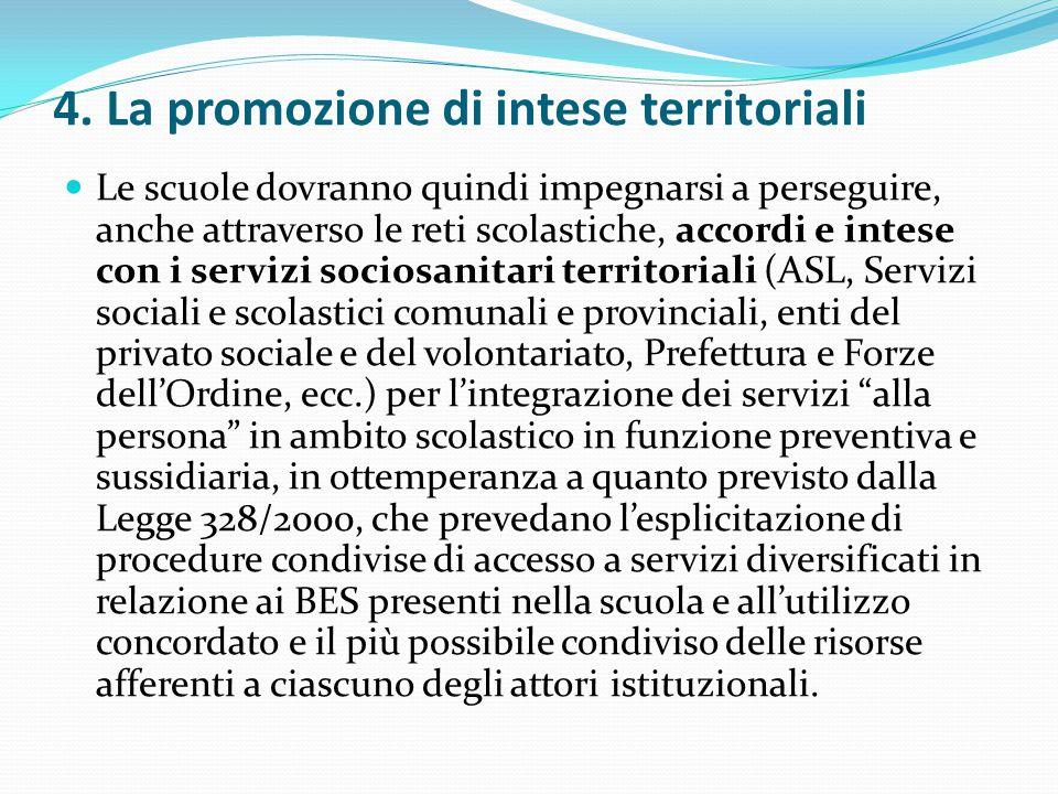 4. La promozione di intese territoriali