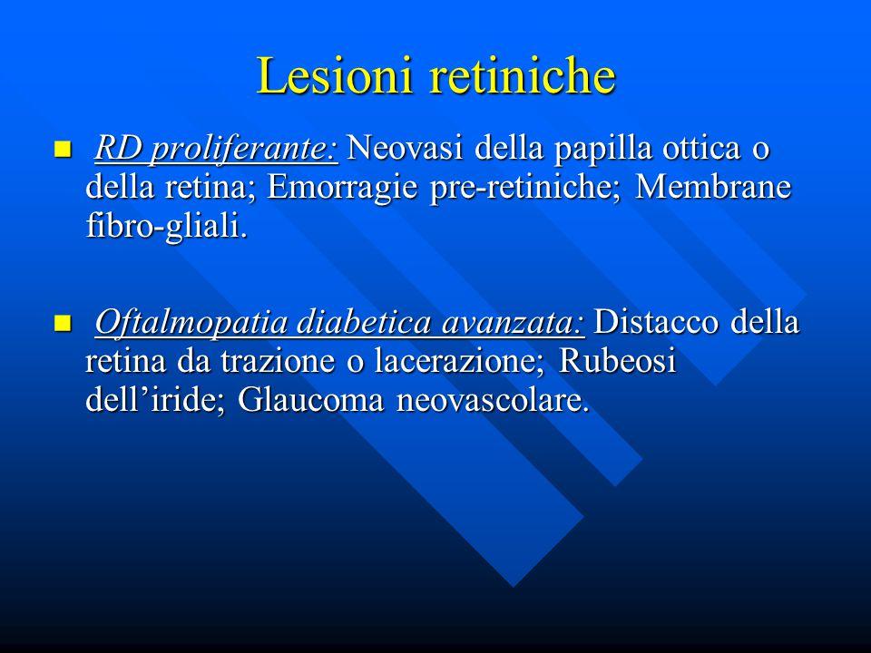Lesioni retiniche RD proliferante: Neovasi della papilla ottica o della retina; Emorragie pre-retiniche; Membrane fibro-gliali.