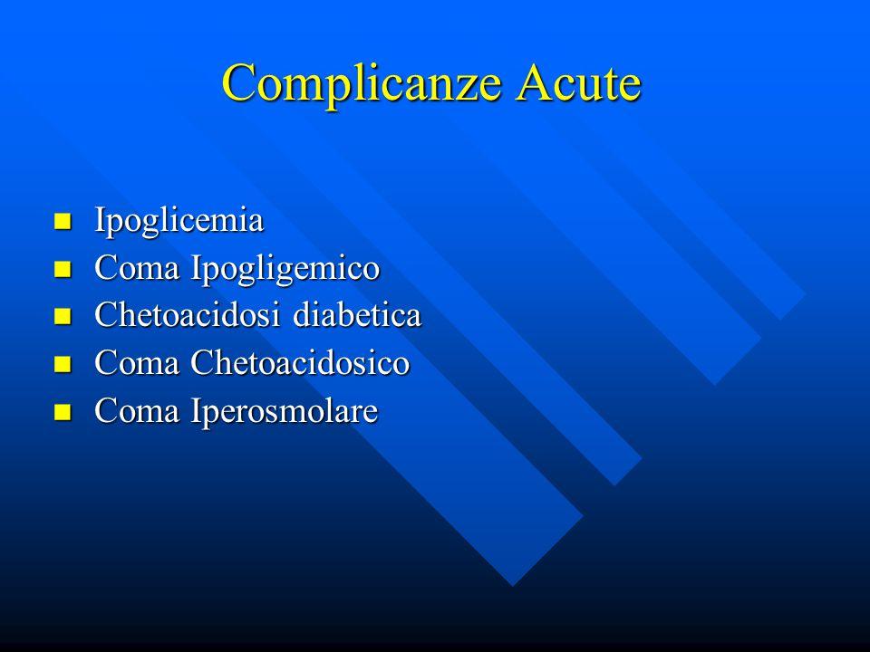 Complicanze Acute Ipoglicemia Coma Ipogligemico Chetoacidosi diabetica