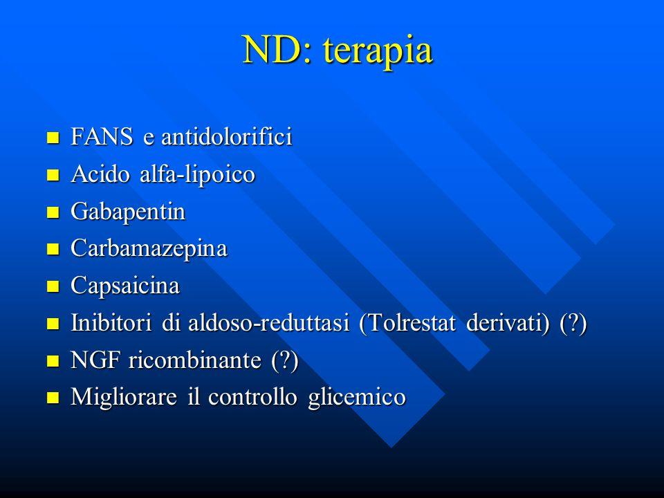 ND: terapia FANS e antidolorifici Acido alfa-lipoico Gabapentin