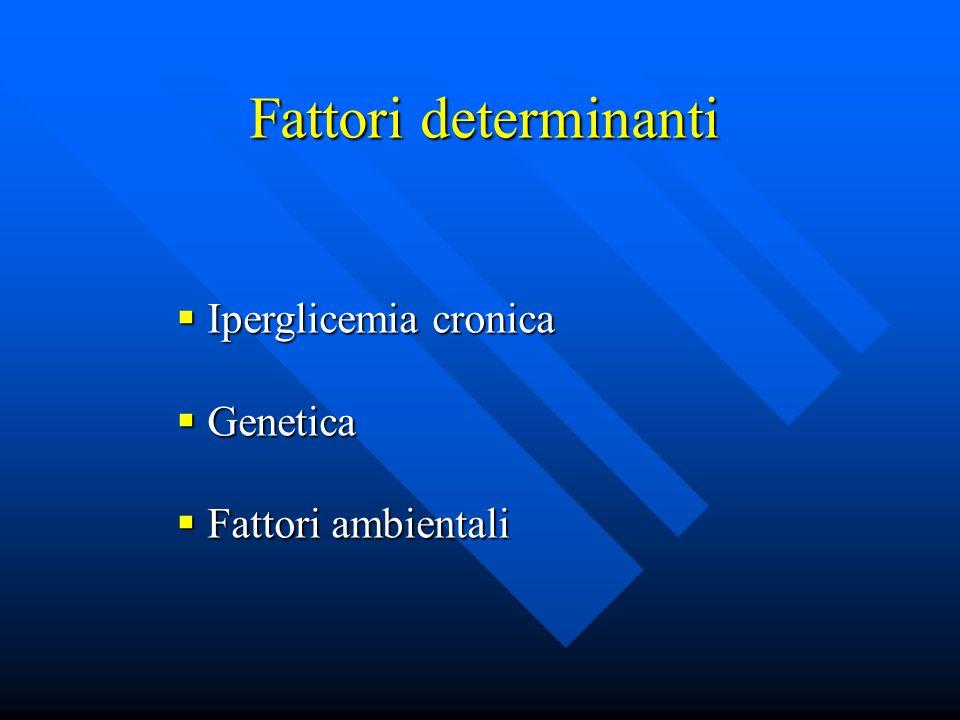 Fattori determinanti Iperglicemia cronica Genetica Fattori ambientali
