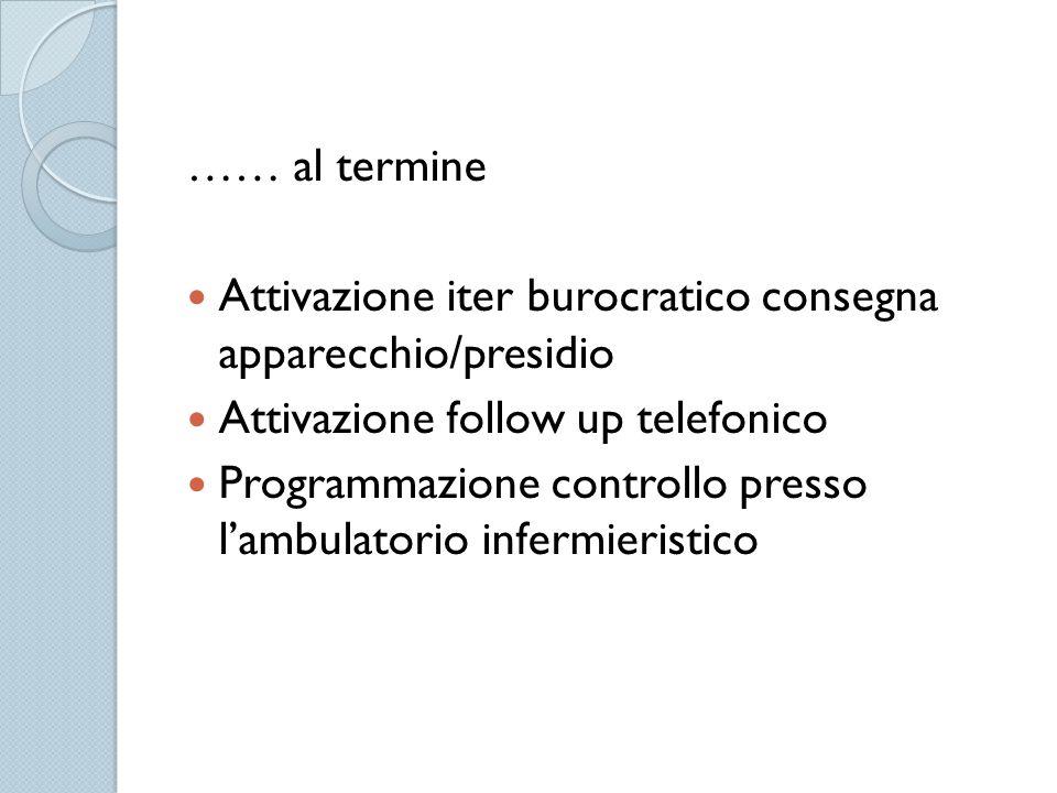 …… al termine Attivazione iter burocratico consegna apparecchio/presidio. Attivazione follow up telefonico.