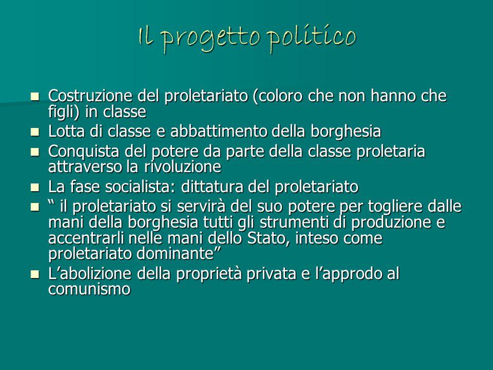 Il progetto politico Costruzione del proletariato (coloro che non hanno che figli) in classe. Lotta di classe e abbattimento della borghesia.