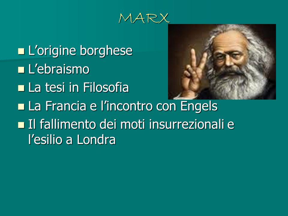 MARX L'origine borghese L'ebraismo La tesi in Filosofia