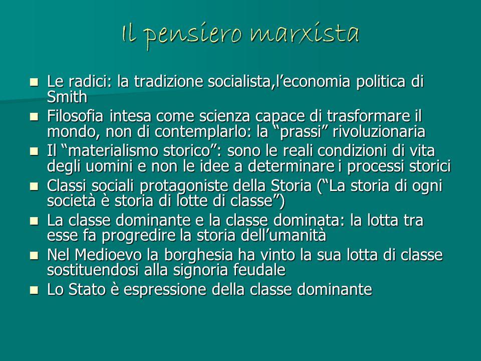 Il pensiero marxista Le radici: la tradizione socialista,l'economia politica di Smith.