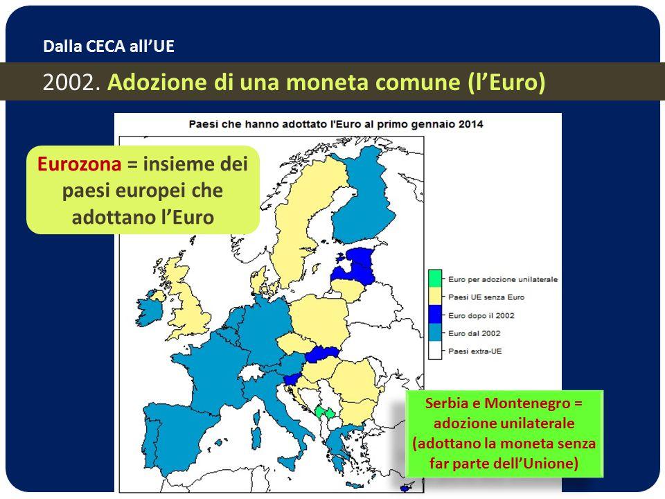 Eurozona = insieme dei paesi europei che adottano l'Euro