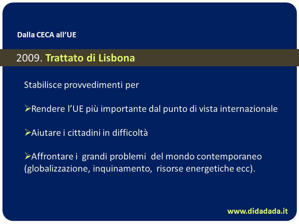 2009. Trattato di Lisbona Stabilisce provvedimenti per