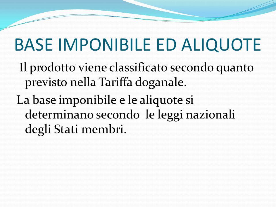 BASE IMPONIBILE ED ALIQUOTE