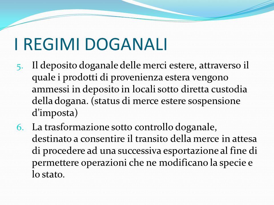 I REGIMI DOGANALI