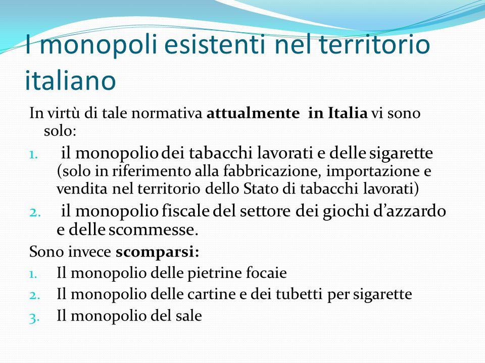 I monopoli esistenti nel territorio italiano