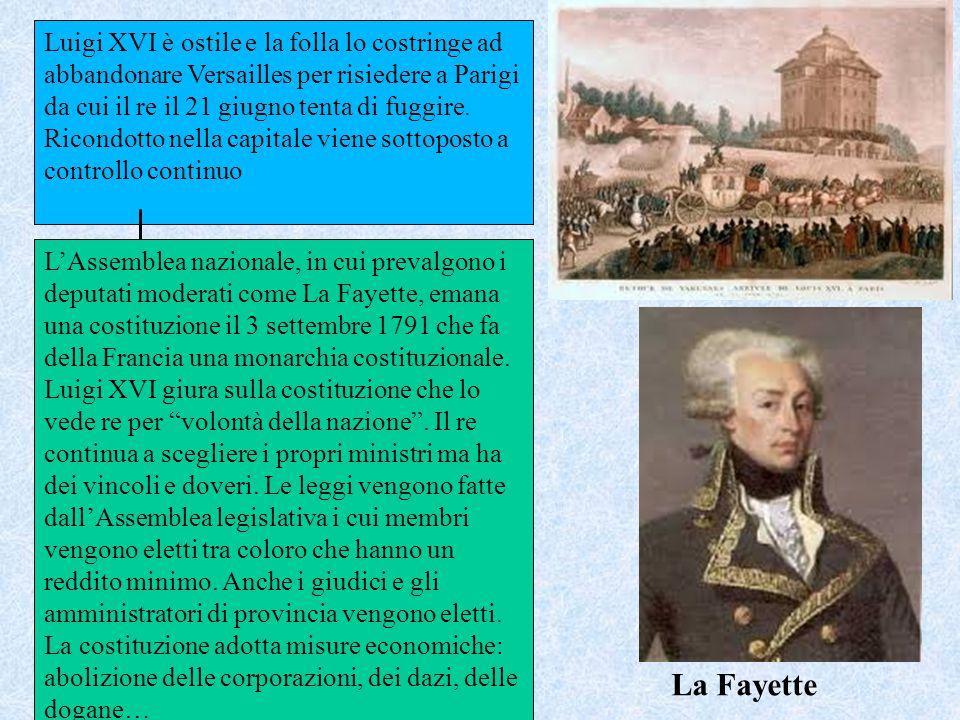 Luigi XVI è ostile e la folla lo costringe ad abbandonare Versailles per risiedere a Parigi da cui il re il 21 giugno tenta di fuggire. Ricondotto nella capitale viene sottoposto a controllo continuo