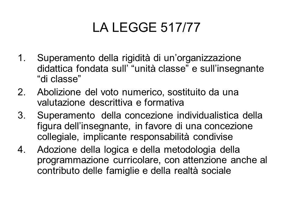 LA LEGGE 517/77 Superamento della rigidità di un'organizzazione didattica fondata sull' unità classe e sull'insegnante di classe