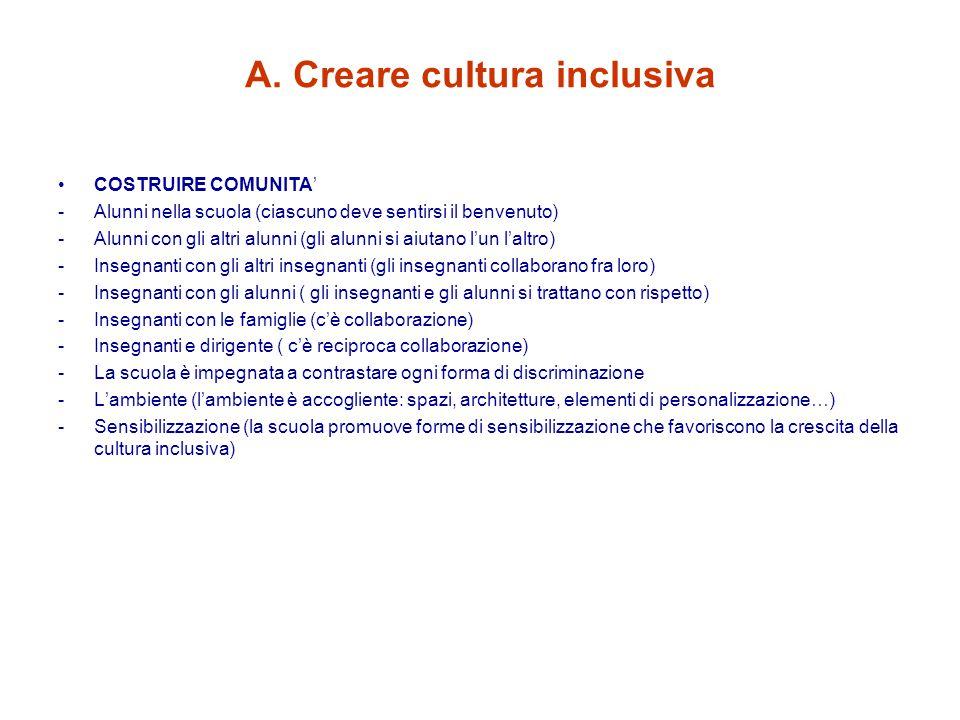A. Creare cultura inclusiva
