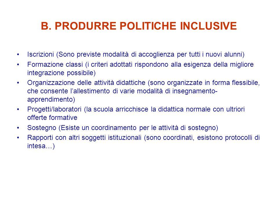 B. PRODURRE POLITICHE INCLUSIVE