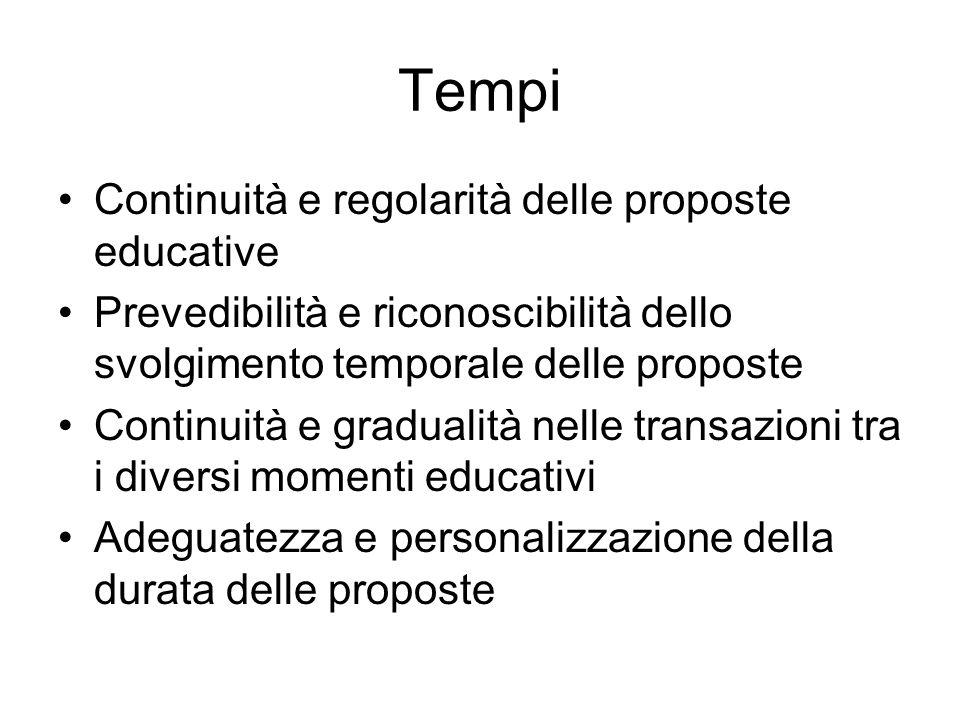 Tempi Continuità e regolarità delle proposte educative