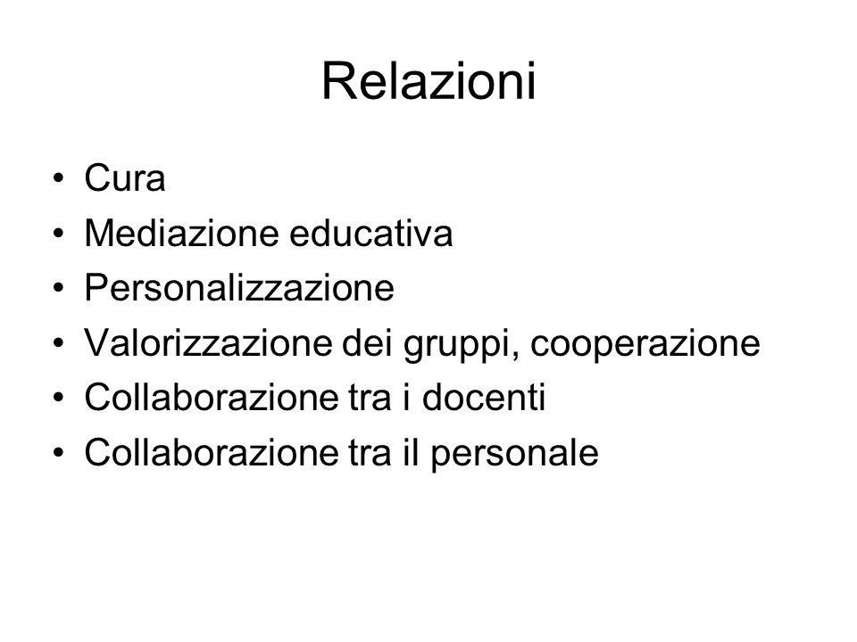 Relazioni Cura Mediazione educativa Personalizzazione