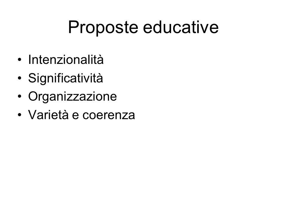 Proposte educative Intenzionalità Significatività Organizzazione