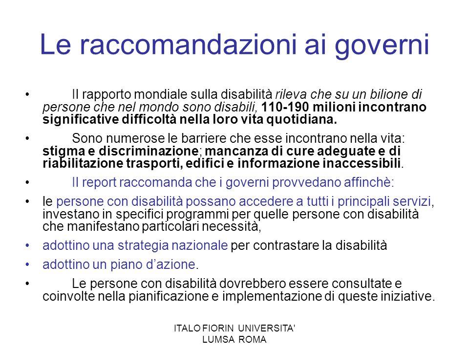 Le raccomandazioni ai governi