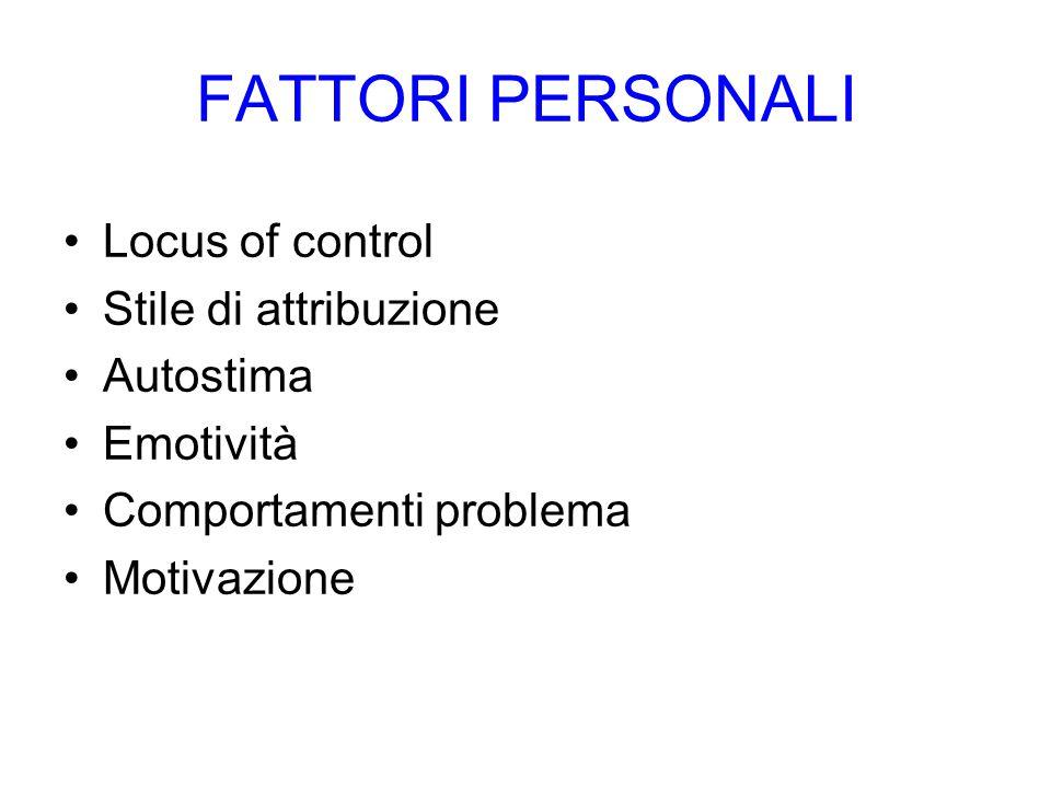 FATTORI PERSONALI Locus of control Stile di attribuzione Autostima