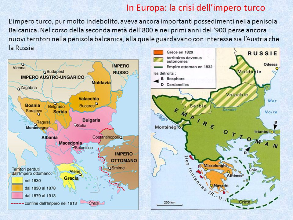 In Europa: la crisi dell'impero turco