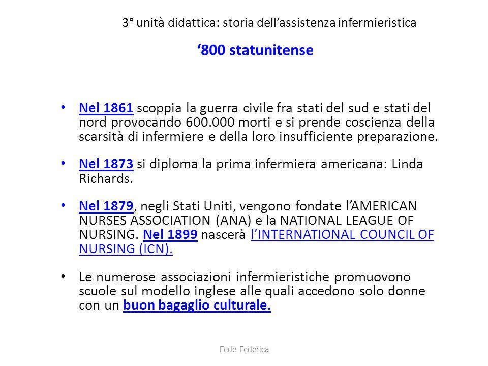 3° unità didattica: storia dell'assistenza infermieristica