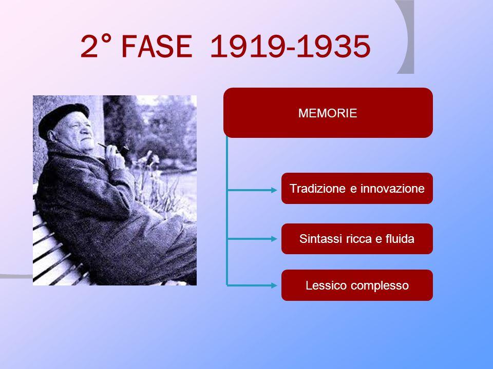 2° FASE 1919-1935 MEMORIE Tradizione e innovazione