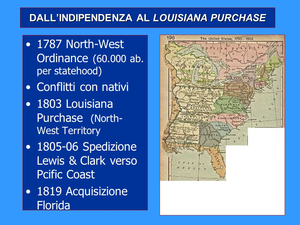 DALL'INDIPENDENZA AL LOUISIANA PURCHASE
