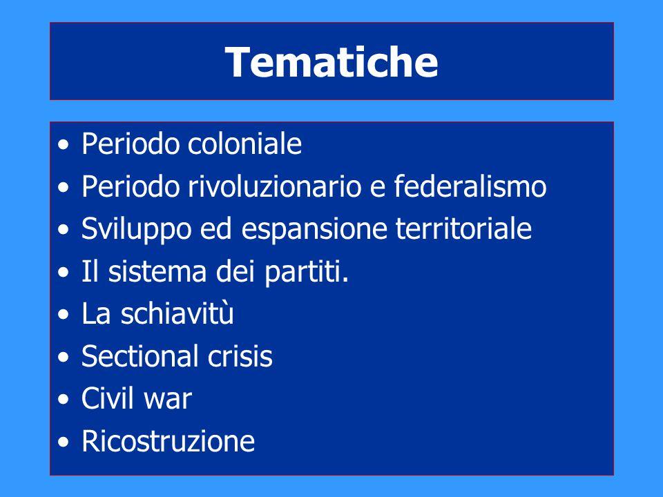Tematiche Periodo coloniale Periodo rivoluzionario e federalismo