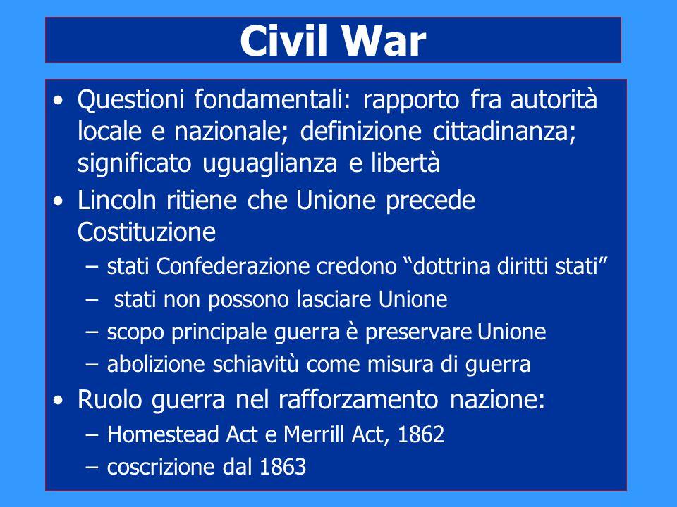 Civil War Questioni fondamentali: rapporto fra autorità locale e nazionale; definizione cittadinanza; significato uguaglianza e libertà.