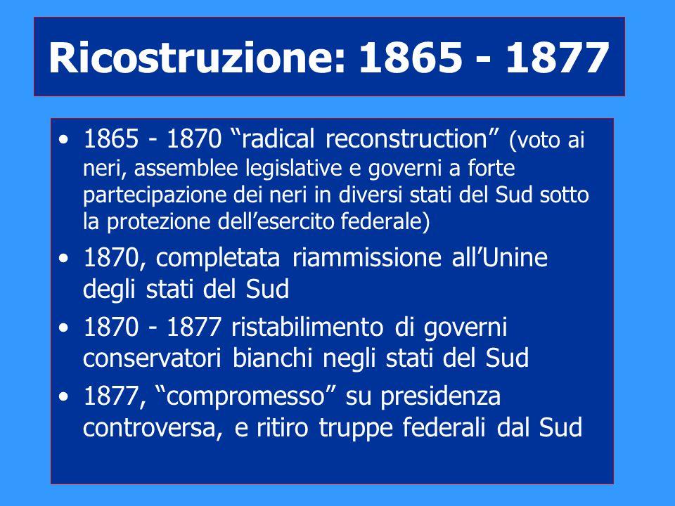 Ricostruzione: 1865 - 1877