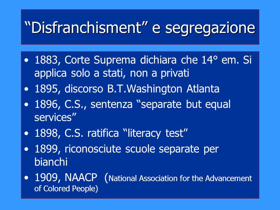 Disfranchisment e segregazione