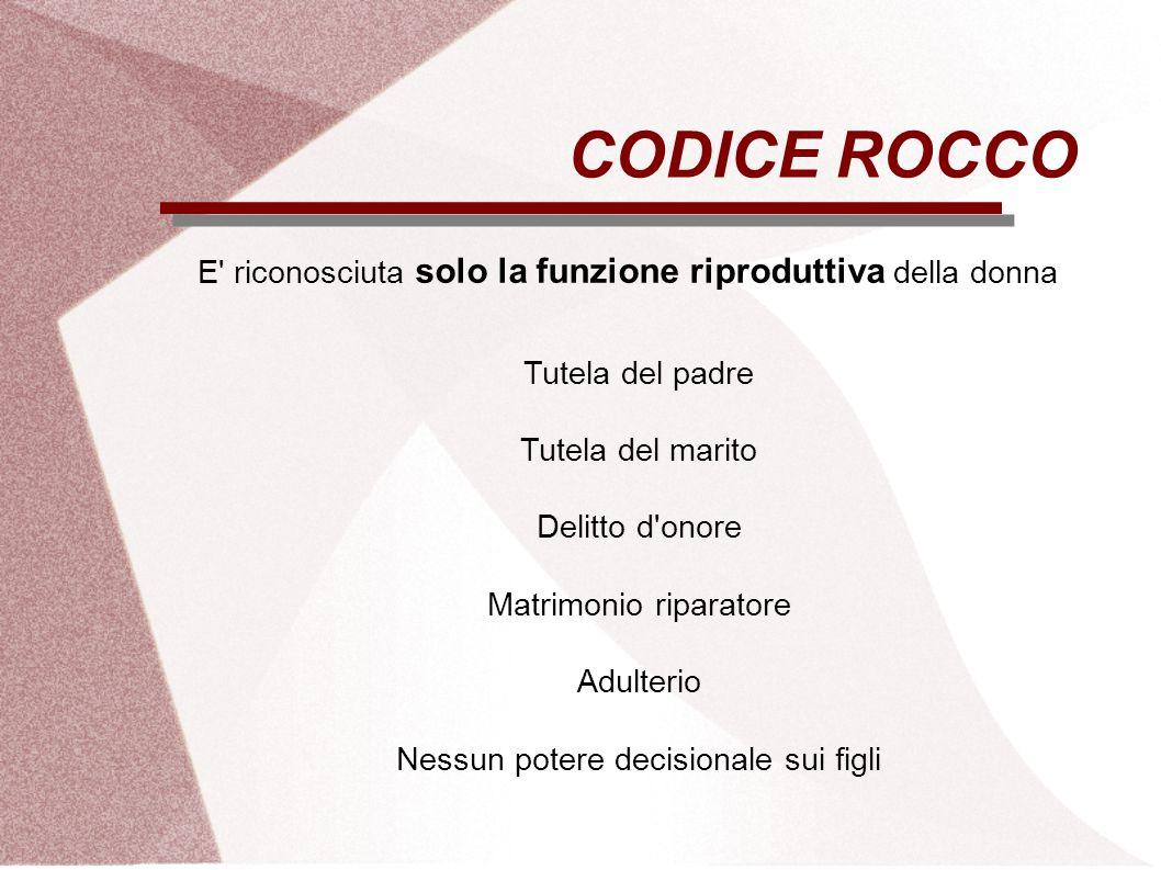 CODICE ROCCO E riconosciuta solo la funzione riproduttiva della donna