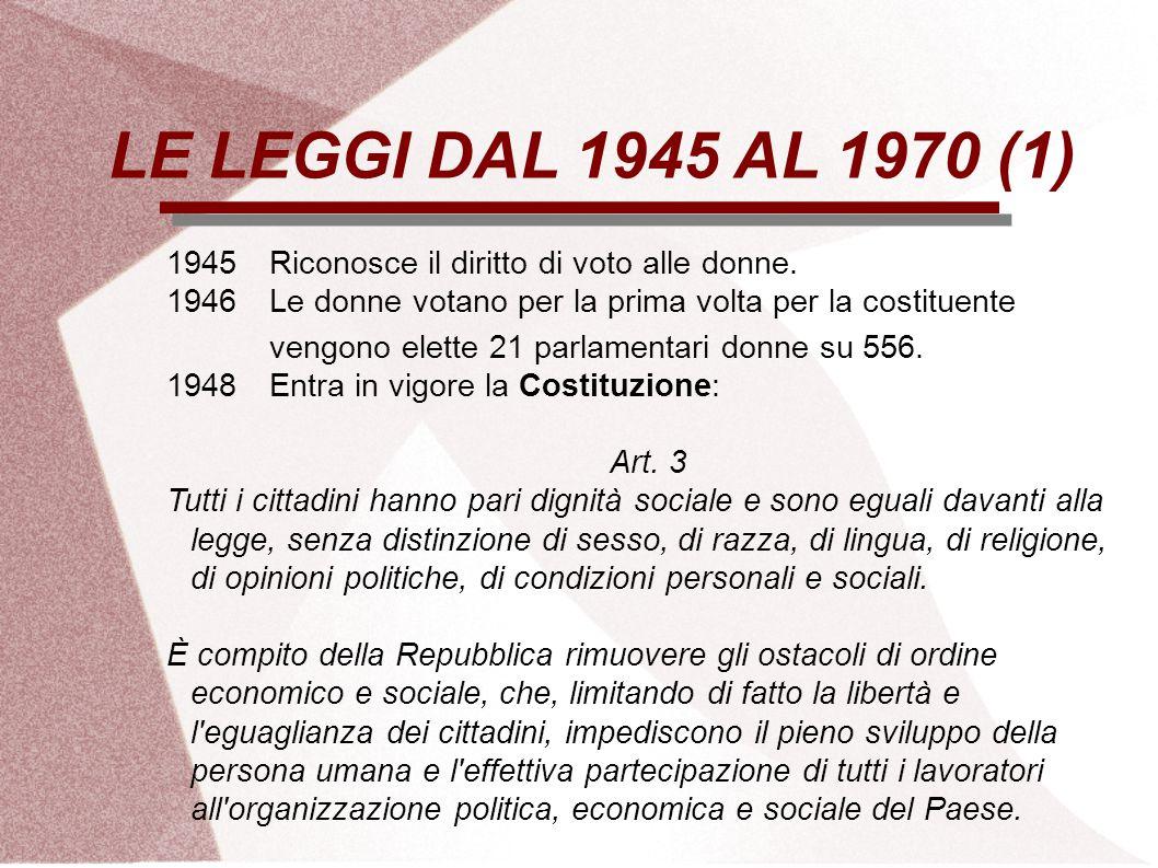 LE LEGGI DAL 1945 AL 1970 (1) 1945 Riconosce il diritto di voto alle donne. 1946 Le donne votano per la prima volta per la costituente.