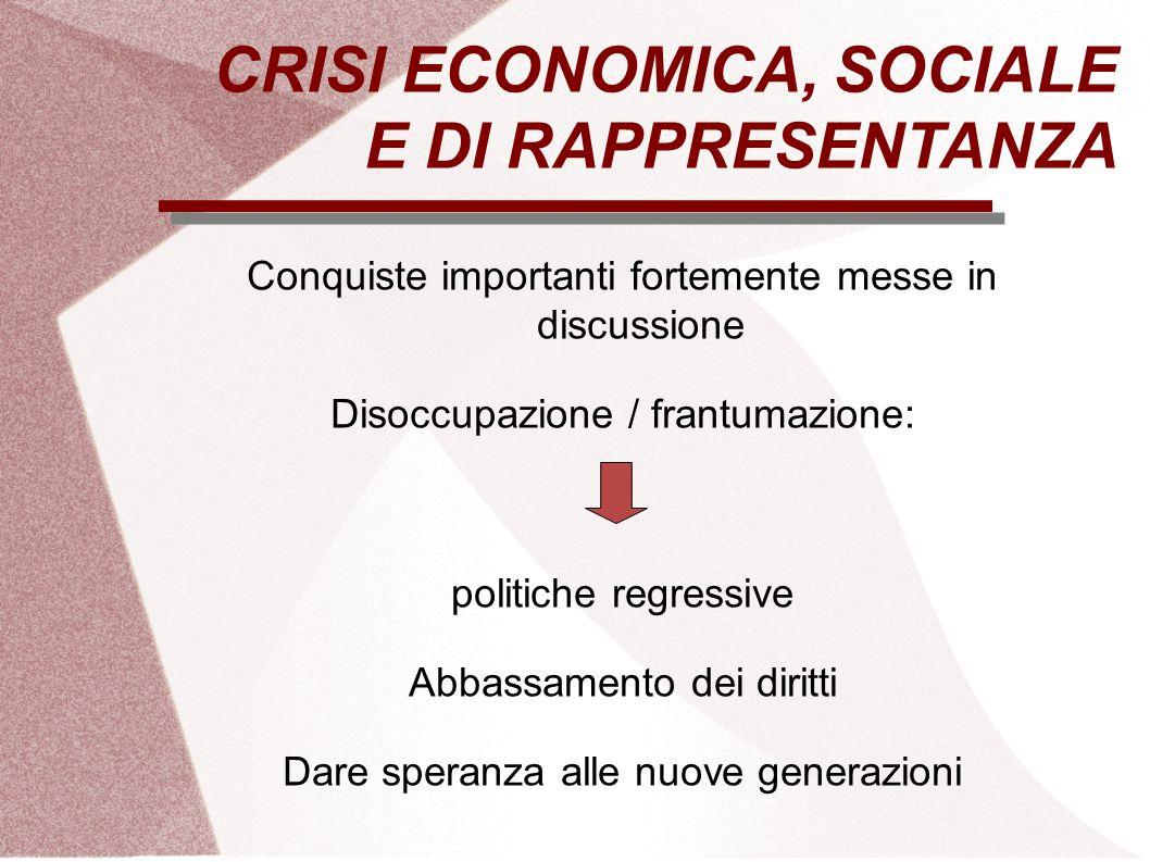CRISI ECONOMICA, SOCIALE E DI RAPPRESENTANZA