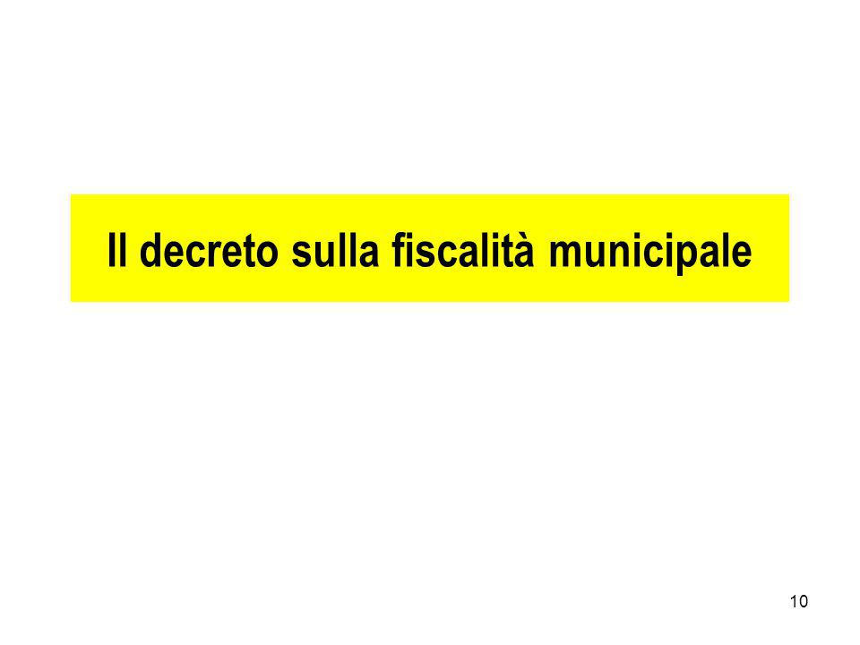 Il decreto sulla fiscalità municipale