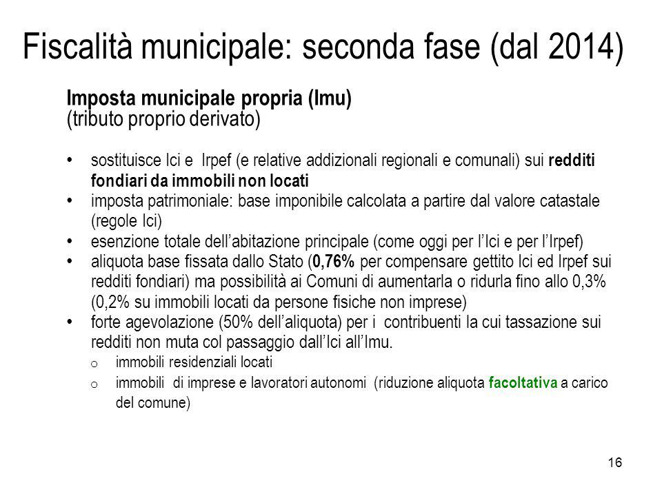 Fiscalità municipale: seconda fase (dal 2014)