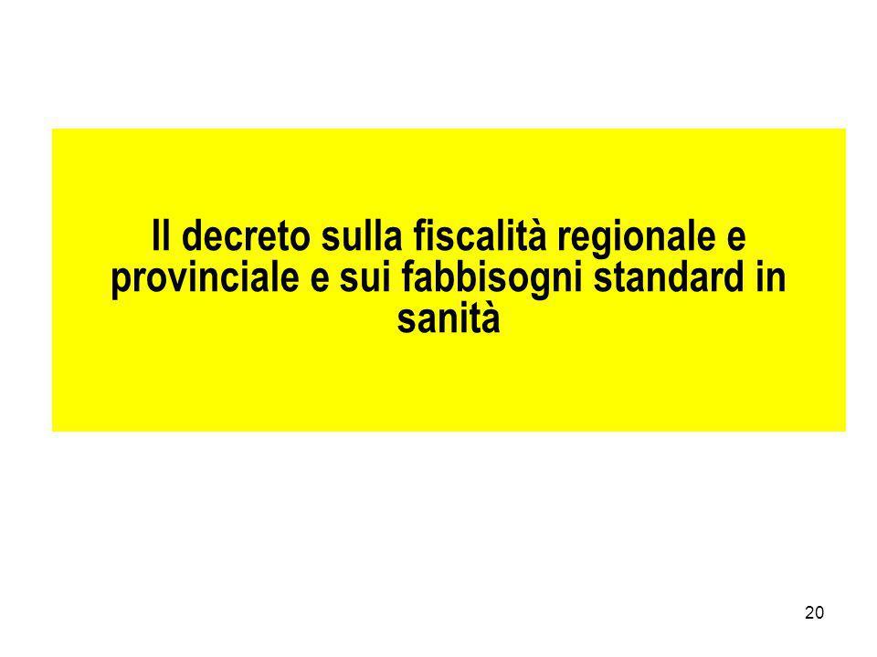 Il decreto sulla fiscalità regionale e provinciale e sui fabbisogni standard in sanità
