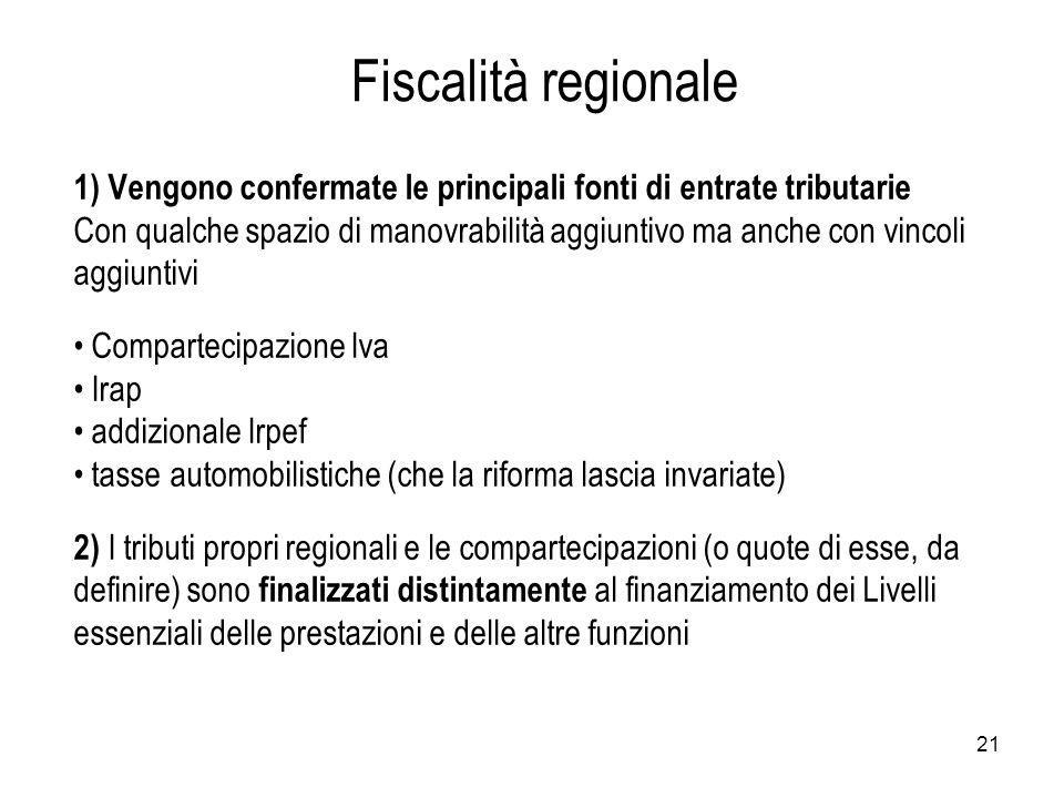 Fiscalità regionale 1) Vengono confermate le principali fonti di entrate tributarie.