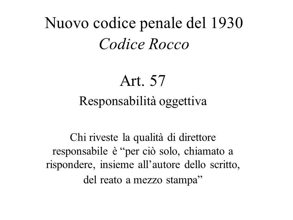 Nuovo codice penale del 1930 Codice Rocco