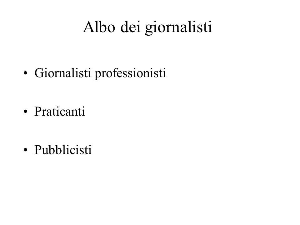 Albo dei giornalisti Giornalisti professionisti Praticanti Pubblicisti